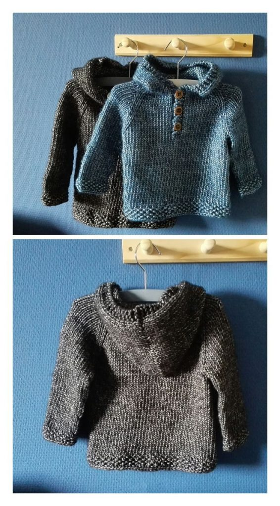 Seamless Baby Hooded Pullover Free Knitting Pattern
