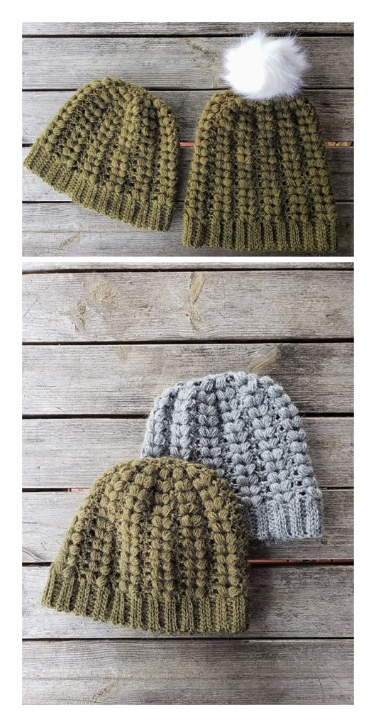 Stretchy Puff Stitch Hat Free Crochet Pattern