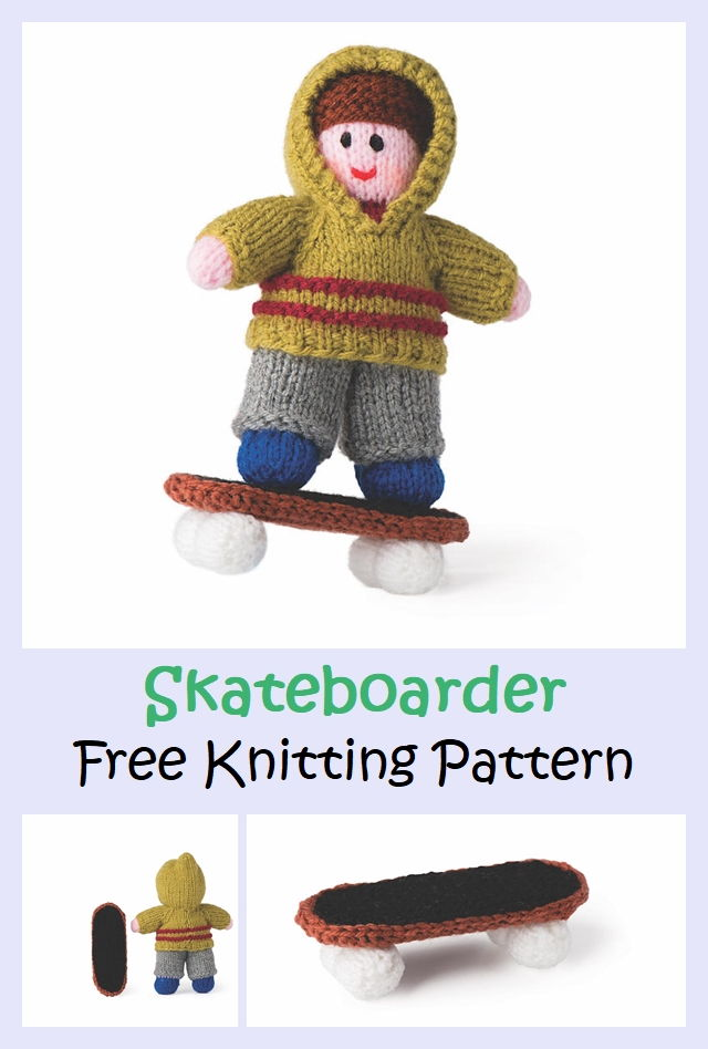 Skateboarder Free Knitting Pattern