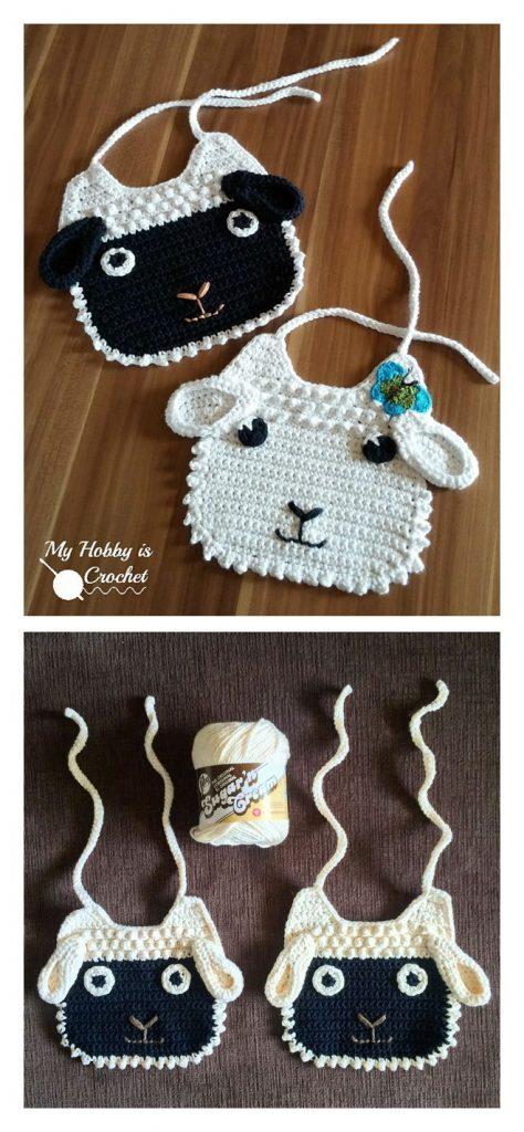 Little Lamb Baby Bib Free Crochet Pattern