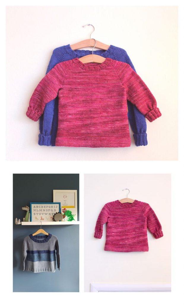 Kids' Basic Raglan Sweater Free Knitting Pattern