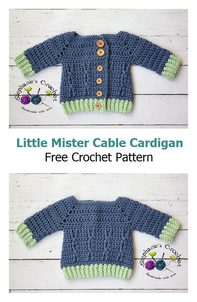 Little Mister Cable Cardigan Free Crochet Pattern
