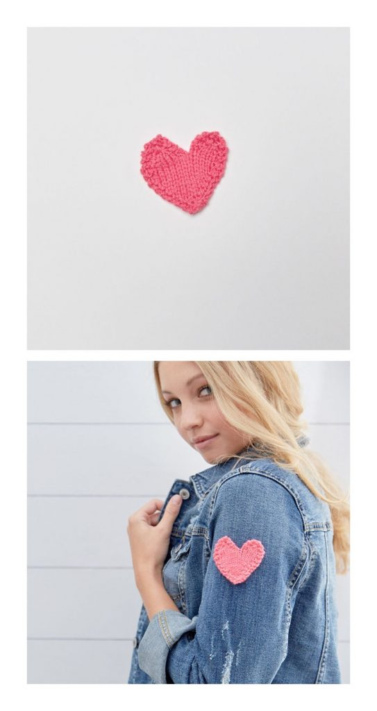Heart Applique Free Knitting Pattern