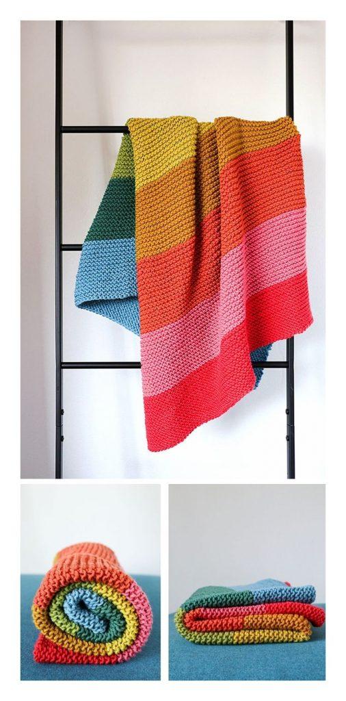 Hello Rainbow Baby Blanket Free Knitting Pattern