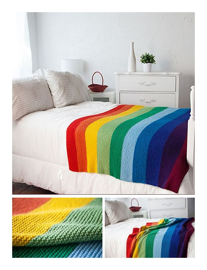 The Mighty Rainbow Blanket Free Knitting Pattern