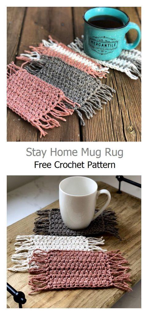 Stay Home Mug Rug Free Crochet Pattern