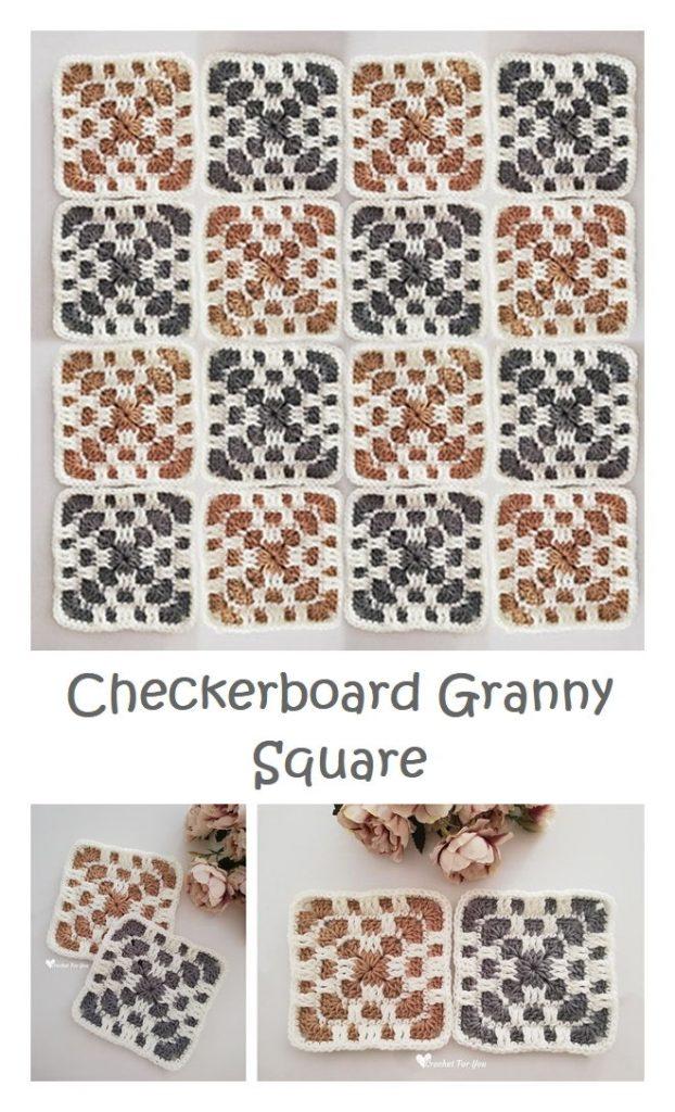 Checkerboard Granny Square Free Crochet Pattern