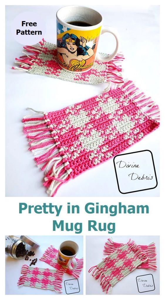Pretty in Gingham Mug Rug Pattern