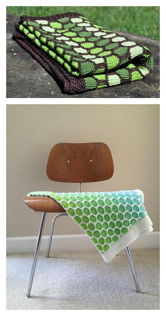 Honeycomb Blanket Free Knitting Pattern