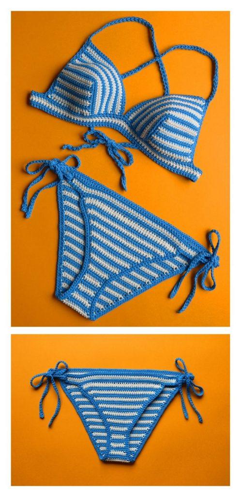 Santorini Striped Bikini Free Crochet Pattern