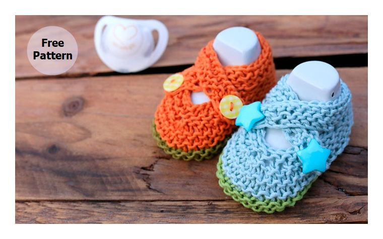 Baby Crossed Shoes Free Knitting Pattern