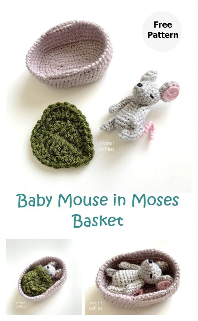 Baby Mouse in Moses Basket Free Pattern