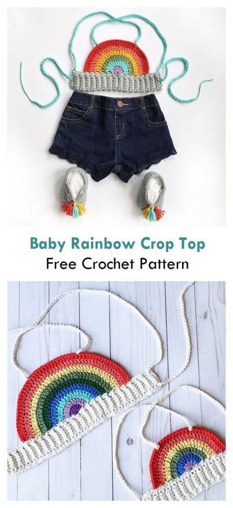 Baby Rainbow Crop Top Free Crochet Pattern