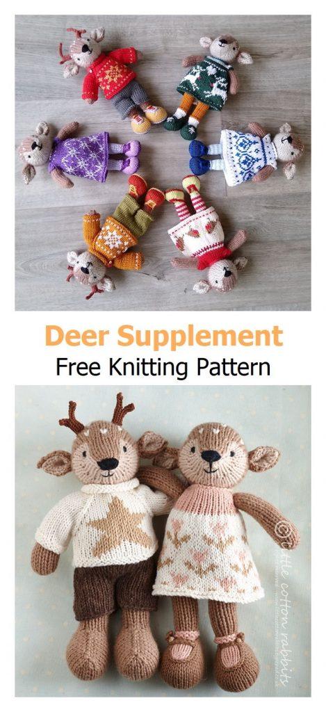 Deer supplement Toys Free Knitting Pattern