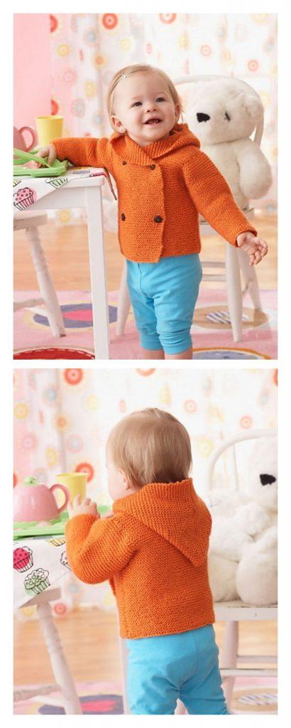 Garter Stitch Hooded Jacket Pattern