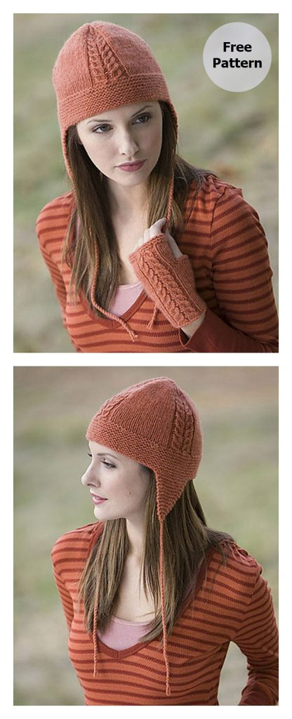 Lavish Flap Hat and Mitts Free Knitting Pattern