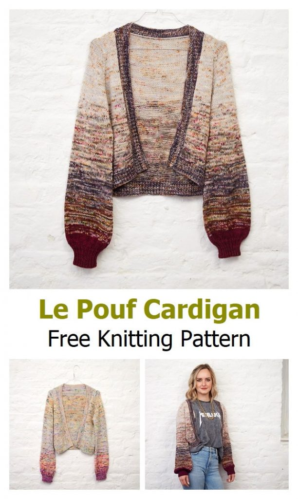 Le Pouf Cardigan Free Knitting Pattern
