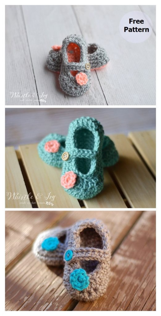 Little Dot Mary Janes Booties Pattern