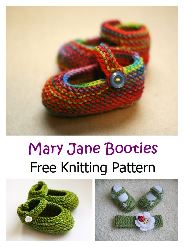 Mary Jane Booties Free Knitting Pattern