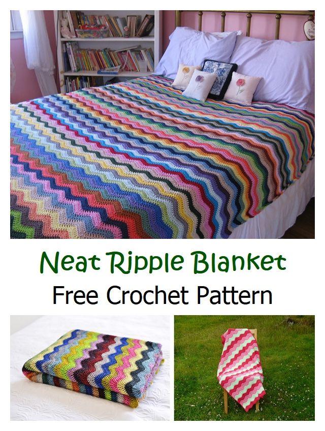 Free Neat Ripple Blanket Crochet Pattern