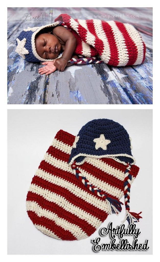 Patriotic Baby Cocoon & Hat Free Crochet Pattern