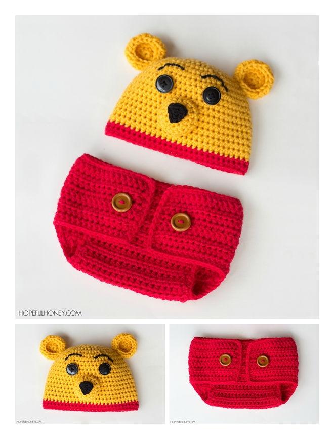Winnie The Pooh Hat & Diaper Set