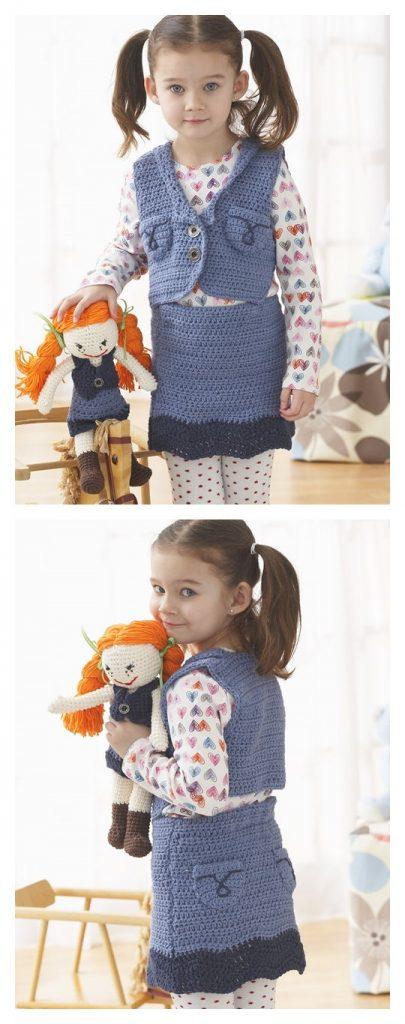 Denim Skirt Free Crochet Pattern