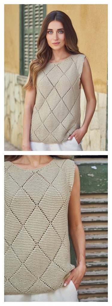 Diamond Top Free Knitting Pattern