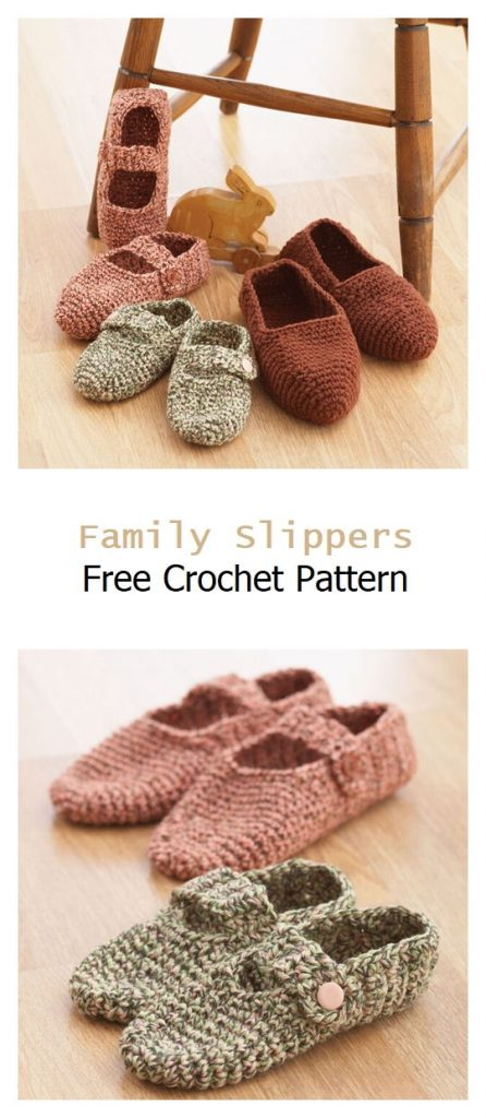 Family Slippers Free Crochet Pattern