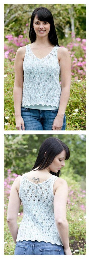 Flower Bud Tank Free Knitting Pattern