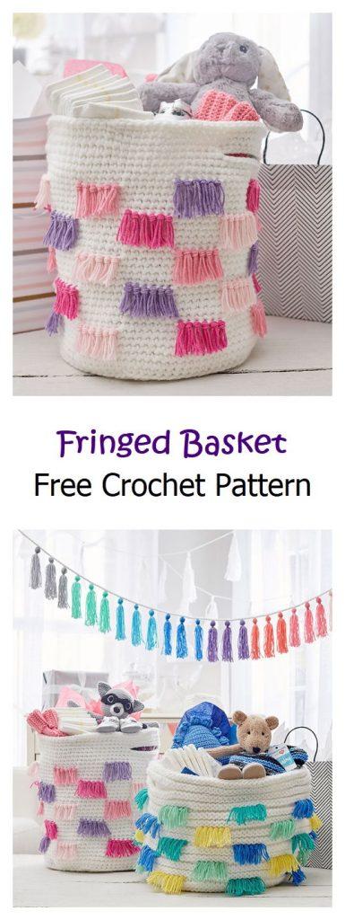 Fringe Basket Free Crochet Pattern