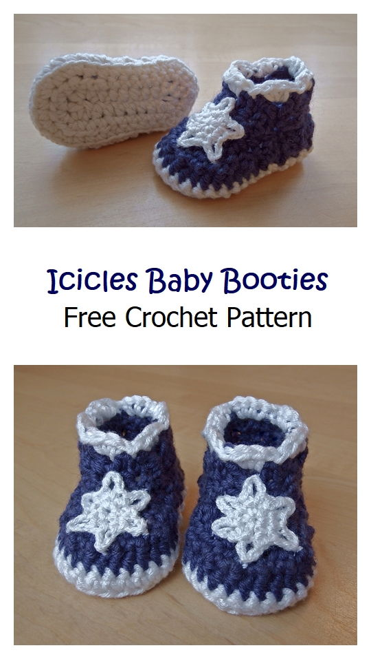 Icicles Baby Booties Free Crochet Pattern