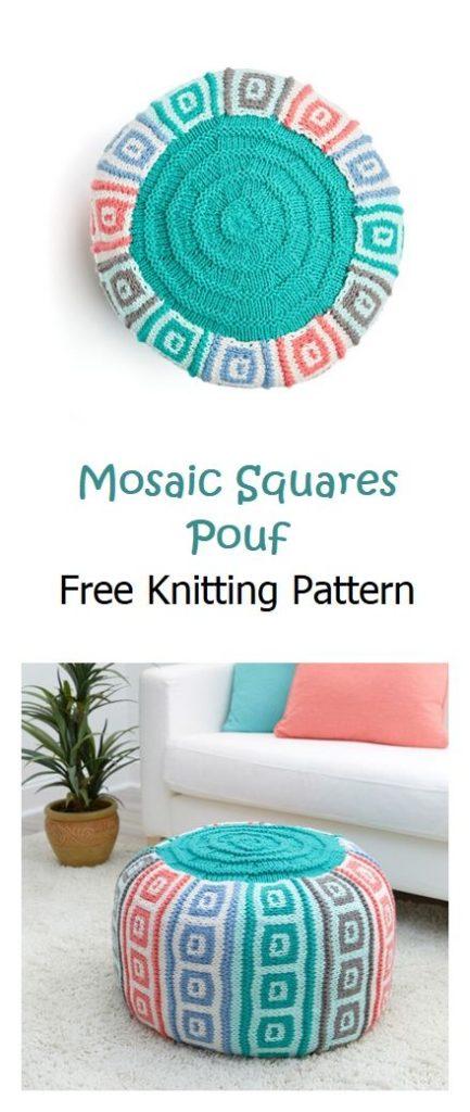 Mosaic Squares Pouf Free Knitting Pattern