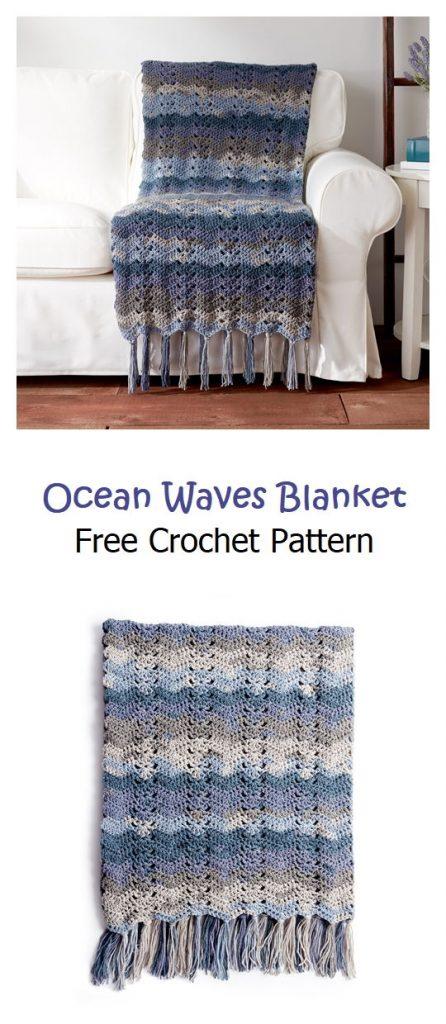 Ocean Waves Blanket Free  Crochet Pattern