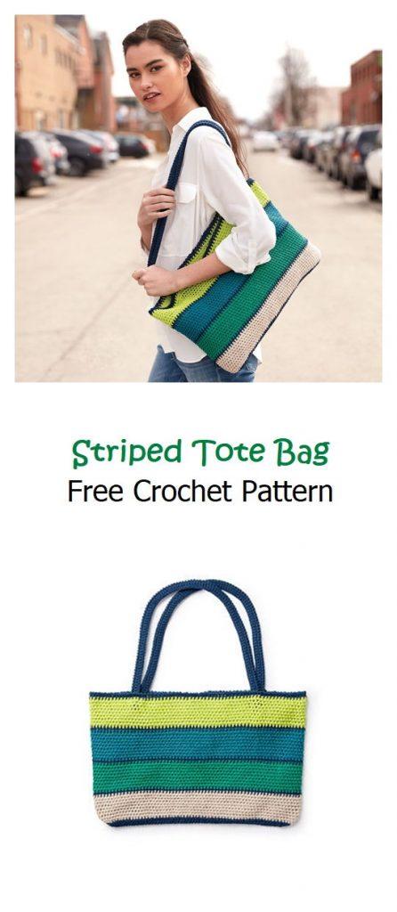Striped Tote Bag Free Crochet Pattern