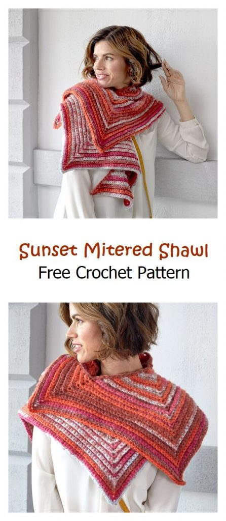 Sunset Mitered Shawl Free Crochet Pattern