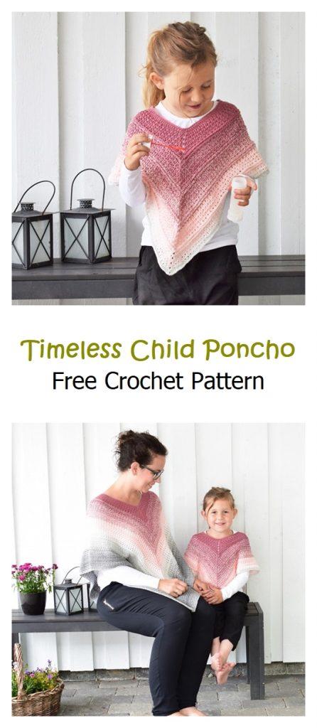 Timeless Child Poncho Free Crochet Pattern