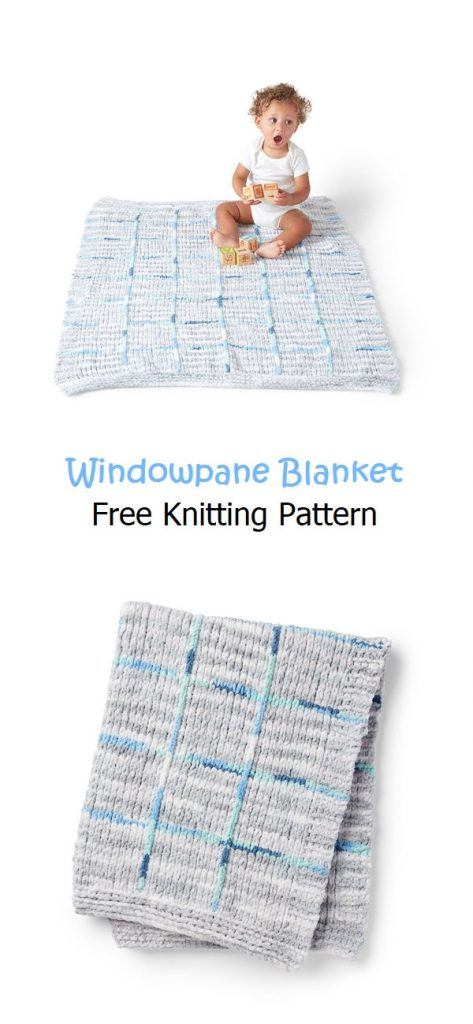 Windowpane Blanket Free Knitting Pattern