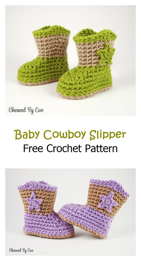 Baby Cowboy Slipper Boots Pattern