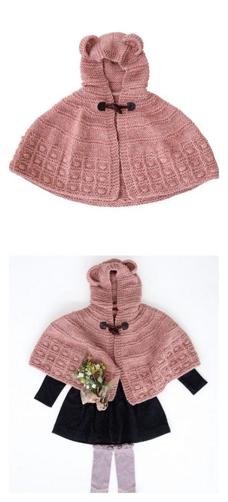 Bear Ear Cape Free Knitting Pattern