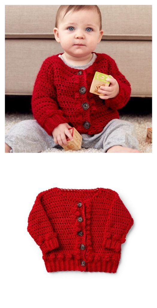 Bobbly Baby Cardigan Free Crochet Pattern