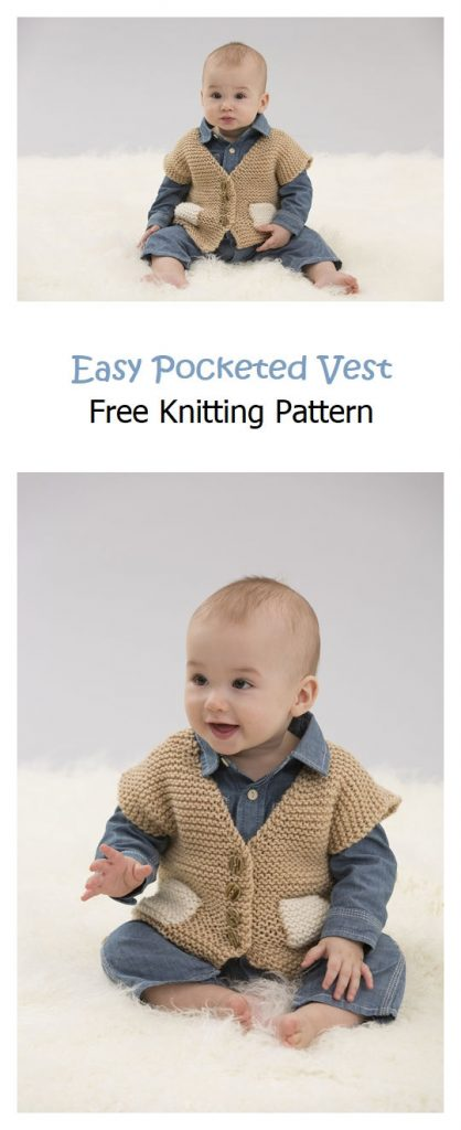 Easy Pocketed Vest Free Knitting Pattern