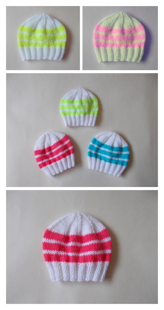 Easy Bright Stripes Baby Hats Pattern