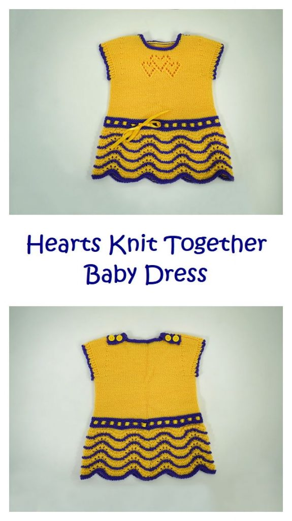 Hearts Together Baby Dress Free Knitting Pattern
