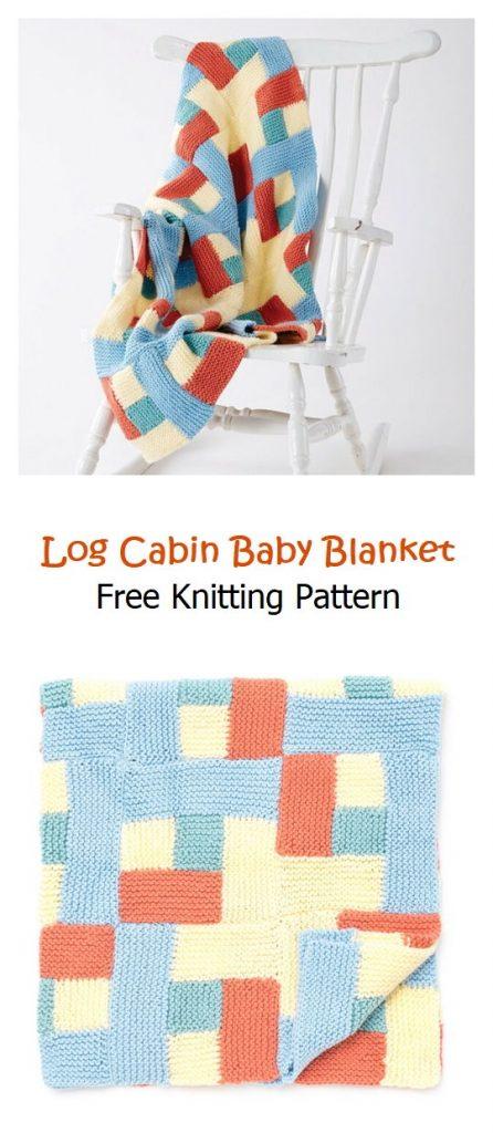 Log Cabin Baby Blanket Free Knitting Pattern