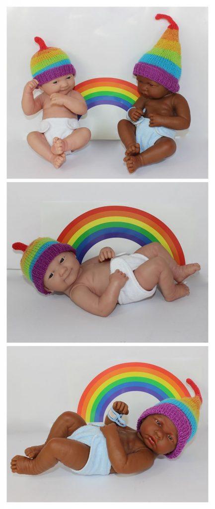 Baby Rainbow Beanie Free Knitting Pattern