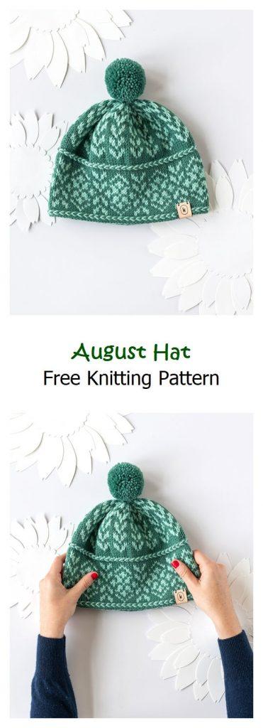 August Hat Free Knitting Pattern