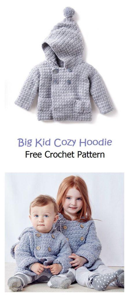 Big Kid Cozy Hoodie Free Crochet Pattern