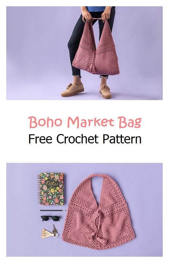 Boho Market Bag Free Crochet Pattern