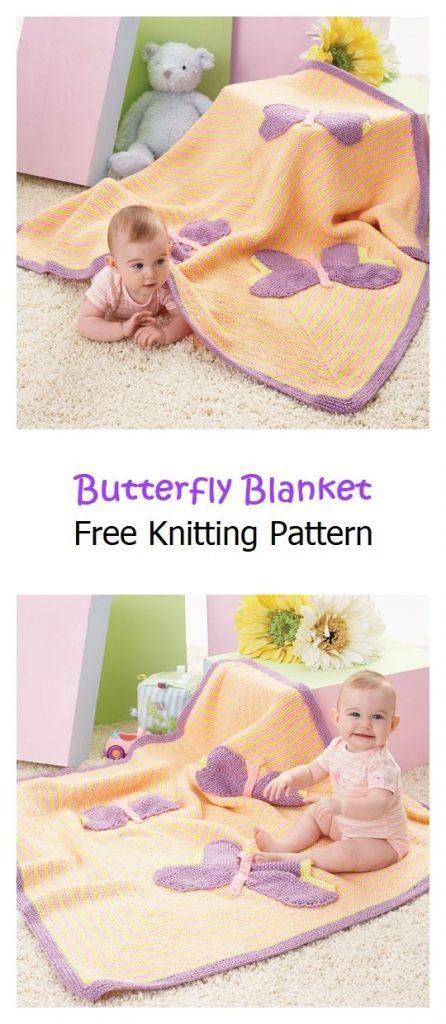 Butterfly Blanket Free Knitting Pattern